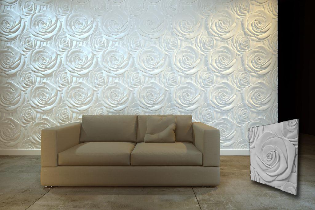Prikaz zidnog panela ruže u dnevnoj sobi