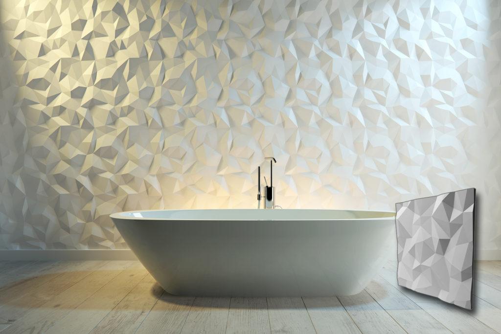 Trokuti zidni panel u intirijeru kupatila