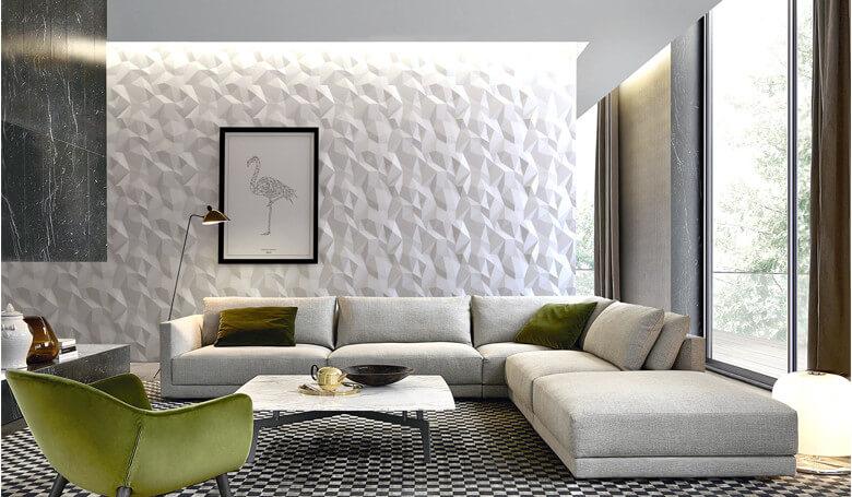 Origami zidni panel u dnevnoj sobi sa ugaonom garniturom