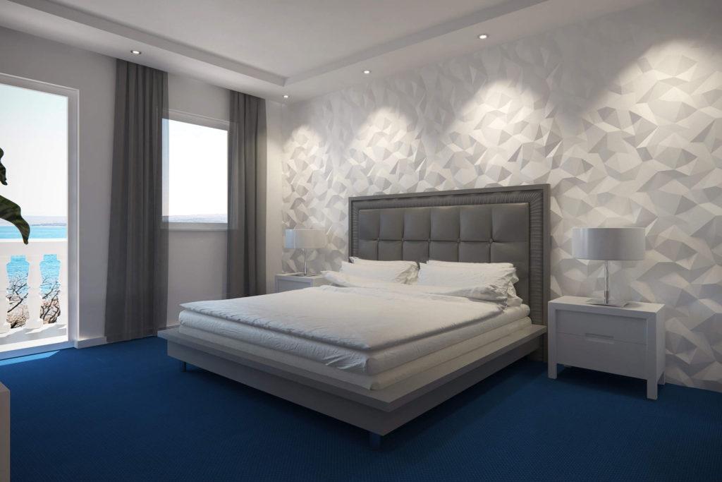 Trokutasti zidni panel za spavaću sobu