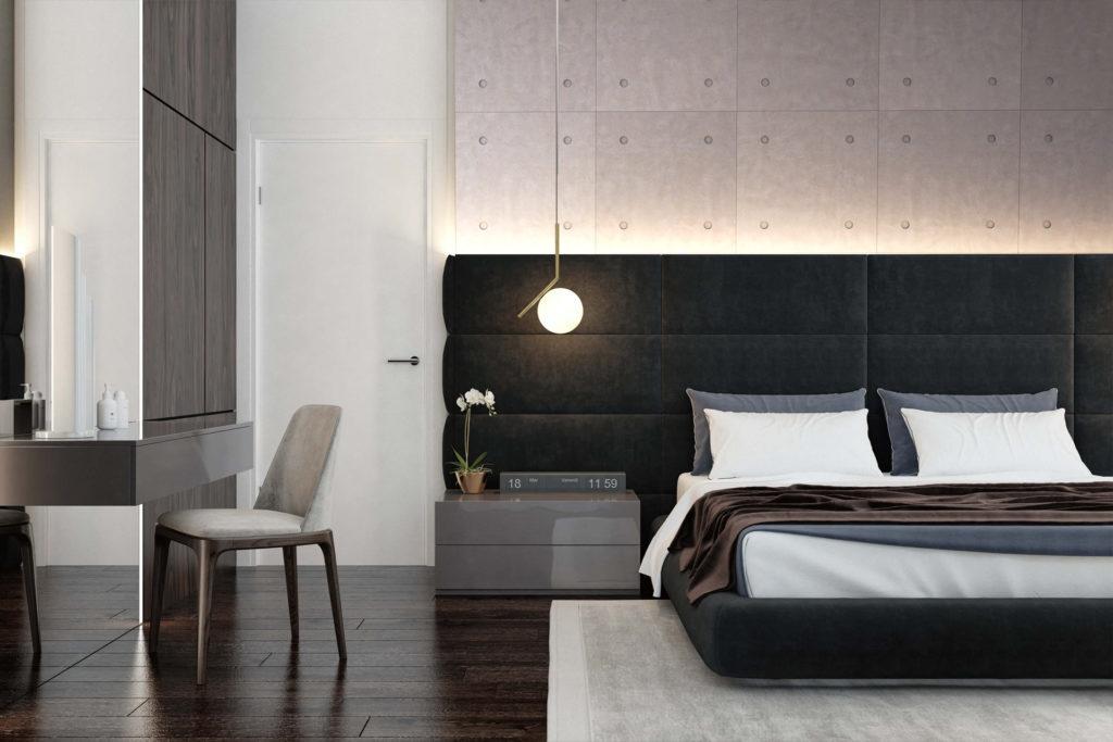 Interijer spavaće sobe sa 3D Tiles zidnim panelom